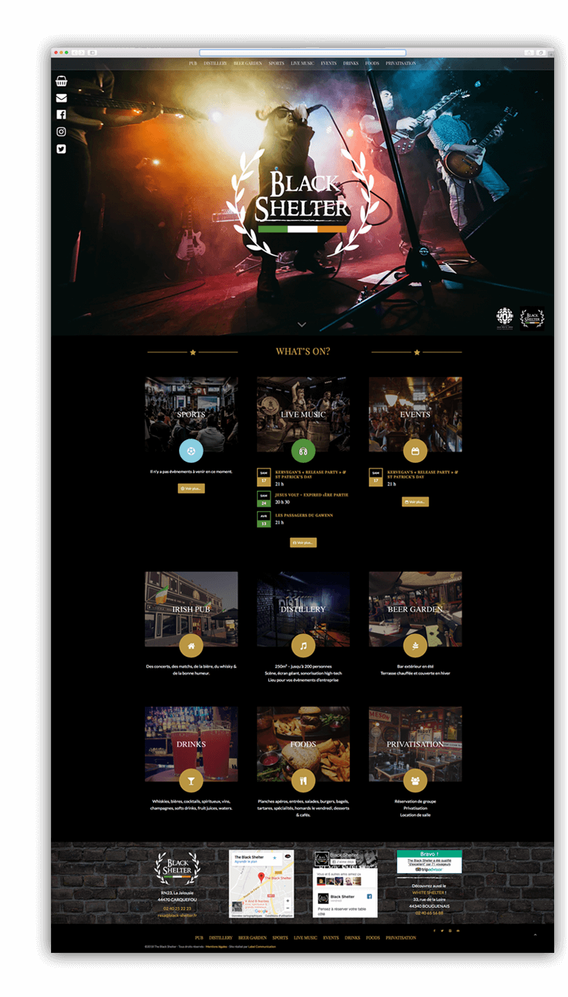 Création du site internet du Black Shelter - Agence web - Label Site Nantes