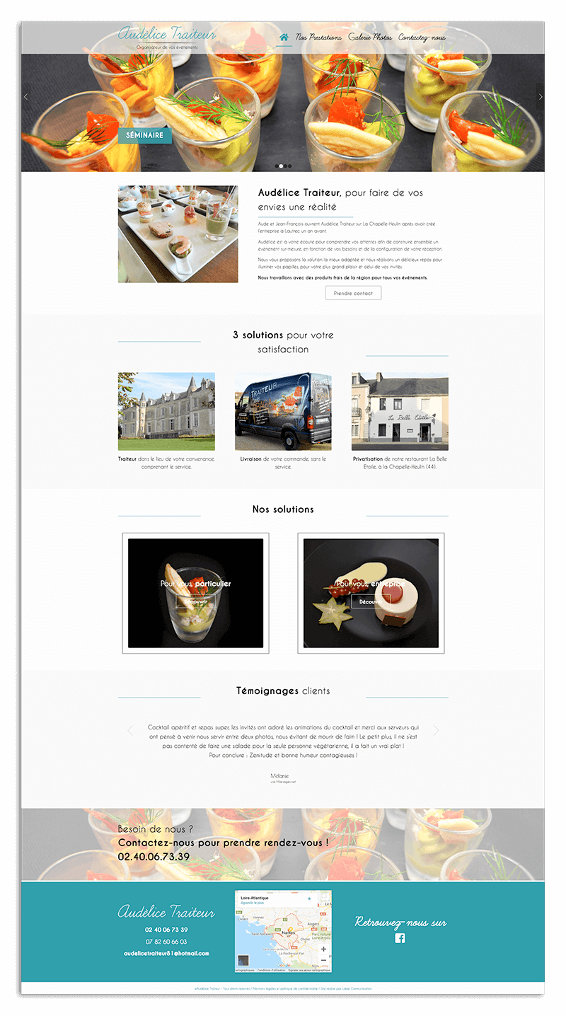 Création du site internet d'Audélice Traiteur - Agence web - Label Site Nantes