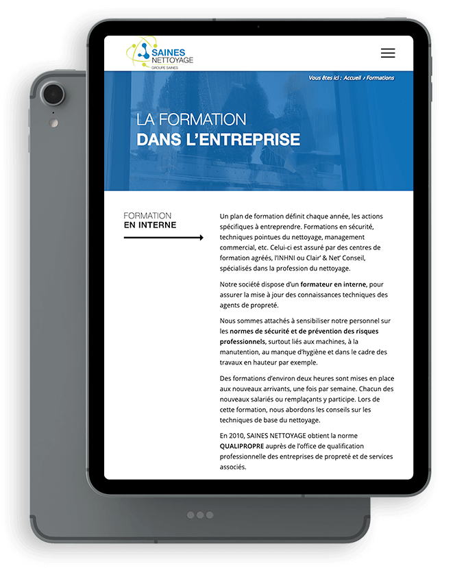 Création du site internet de Saines Nettoyage - Agence web - Label Site Nantes